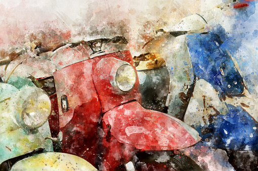 retro motorcycle. Digital Art Watercolor Painting Abstract