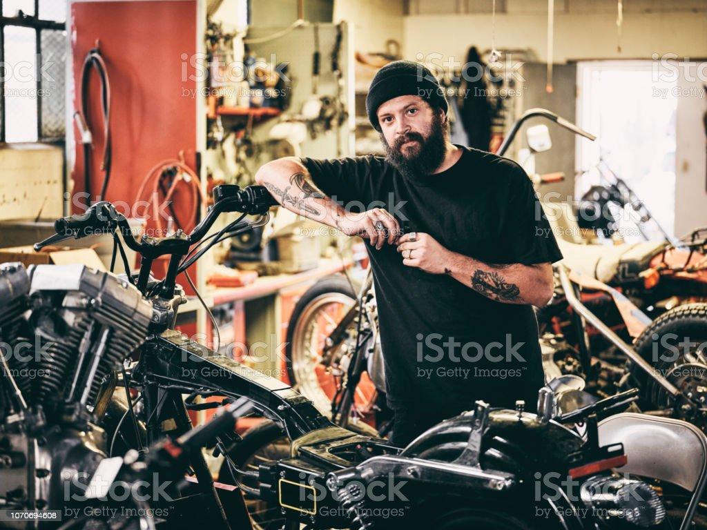 Retro Motorcycle Mechanic stock photo