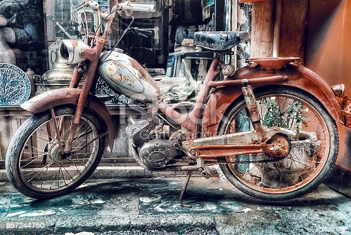 Retro motorcycle, HDR,