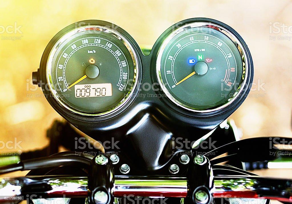 Retro motorcycle speedometer and rev counter stock photo