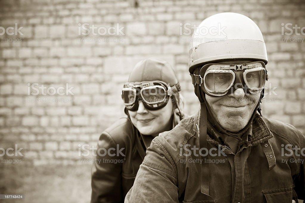 Retro Motorcyclists - 1935 Style stock photo