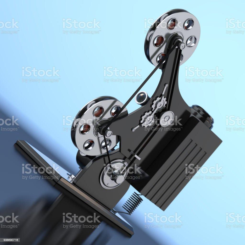 Retro Movie Film Cinema Projector. 3d Rendering stock photo