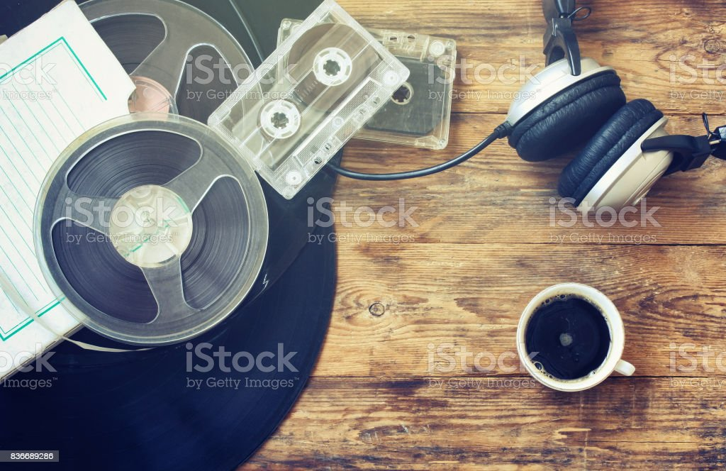 Retro music background, cup of coffee stock photo
