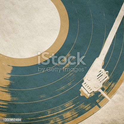 retro music background poster with vinyl lp turntable
