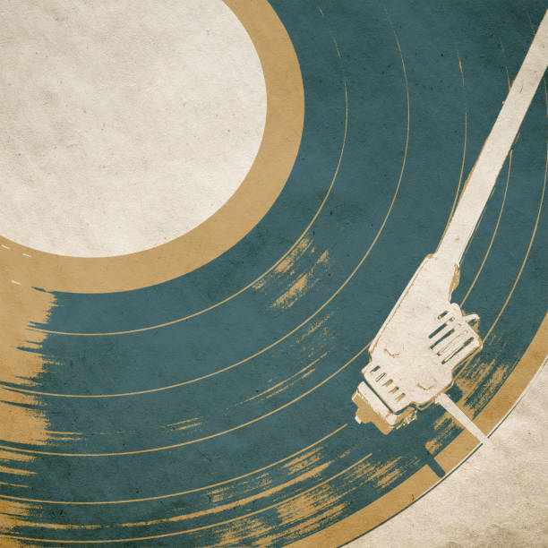 retro music background poster - records stock photos and pictures