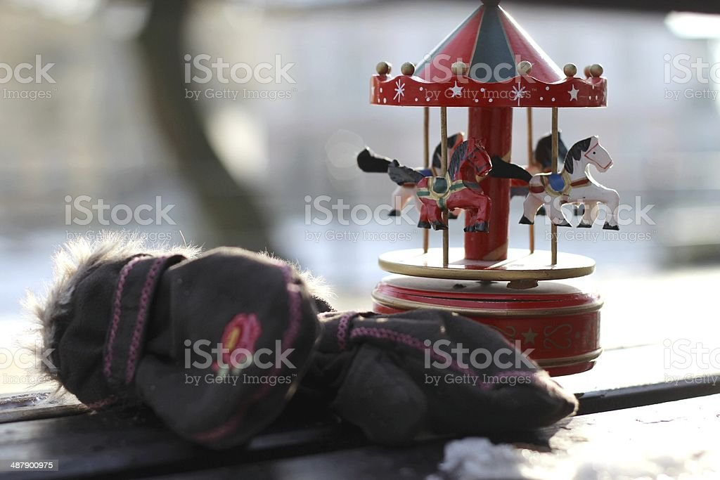 Retro Music Box Carousel with Horses stock photo