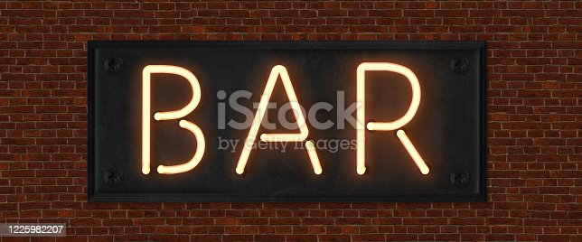 511875398 istock photo Retro neon sign with the word bar. Vintage electric symbol. Burning a pointer to a black wall in a club, bar or cafe. Design element for your ad, signs, posters, banners. Vector illustration. 1225982207