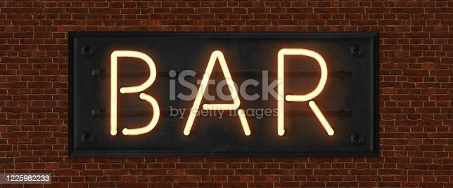 511875398 istock photo Retro neon sign with the word bar. Vintage electric symbol. Burning a pointer to a black wall in a club, bar or cafe. Design element for your ad, signs, posters, banners. Vector illustration. 1225982233