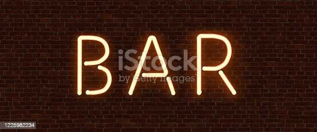 511875398 istock photo Retro neon sign with the word bar. Vintage electric symbol. Burning a pointer to a black wall in a club, bar or cafe. Design element for your ad, signs, posters, banners. Vector illustration. 1225982234