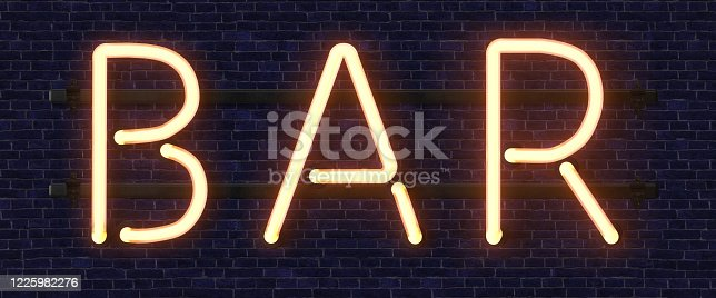 511875398 istock photo Retro neon sign with the word bar. Vintage electric symbol. Burning a pointer to a black wall in a club, bar or cafe. Design element for your ad, signs, posters, banners. Vector illustration. 1225982276
