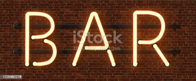 511875398 istock photo Retro neon sign with the word bar. Vintage electric symbol. Burning a pointer to a black wall in a club, bar or cafe. Design element for your ad, signs, posters, banners. Vector illustration. 1225982278