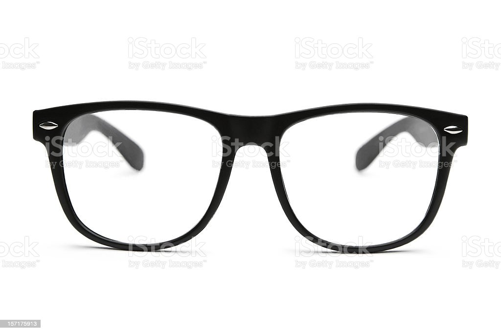 Retro nerd glasses isolated on white with clipping path stock photo