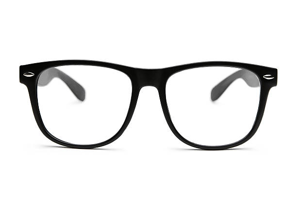 retro nerd glasses isolated on white with clipping path - spectacles stock photos and pictures