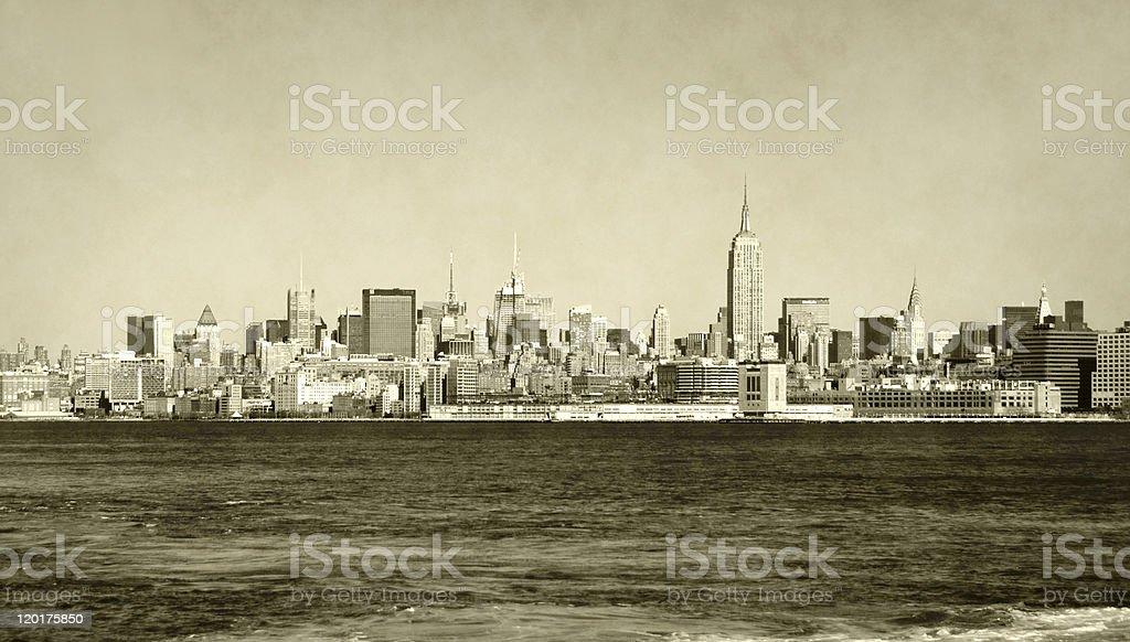 Retro New York City skyline stock photo