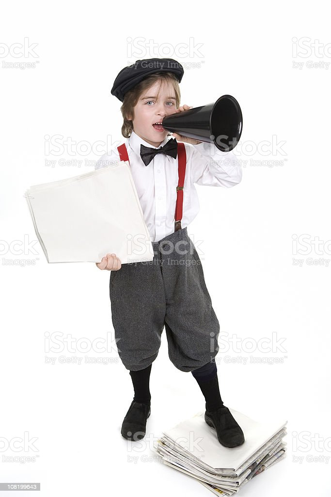 Retro Newsboy Selling Newspapers stock photo