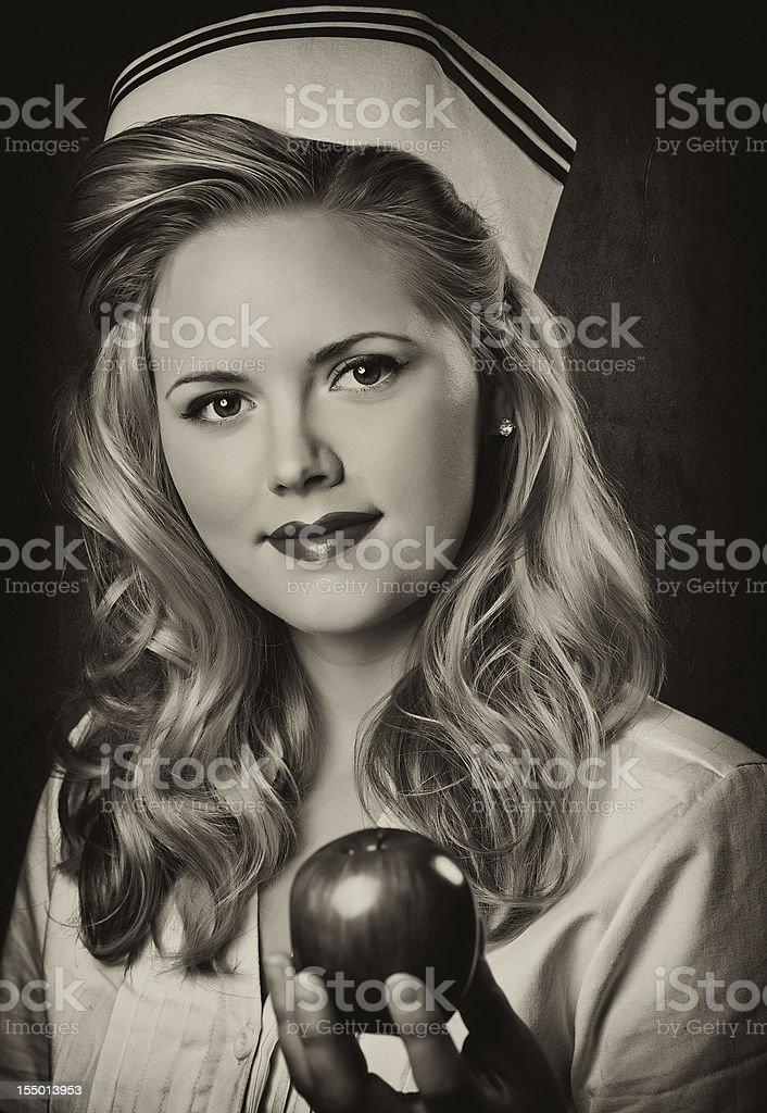 Retro Nurse-Sepia Toned stock photo