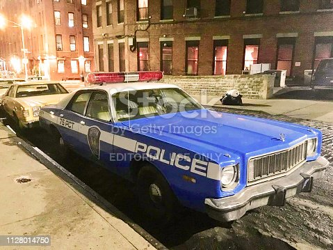 New York City, USA - September 29, 2018: A retro NYC Police Car parking at the streets in Brooklyn neighborhood.