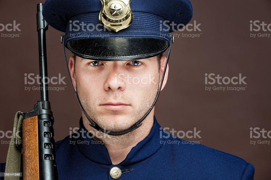 Retro Officer Portrait royalty-free stock photo