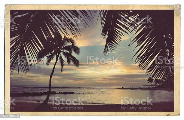 Retro old antique postcard of the beach paradise of kauai hawaii picture id492795425?b=1&k=6&m=492795425&s=612x612&h=njtxf c0unwfdq8ajwtda9u ags6q iitiyzrqaxrsm=