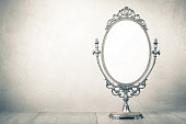 Retro old desk mirror frame. Vintage style sepia photo