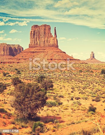 Retro old film style photo of Monument Valley, Utah, USA.