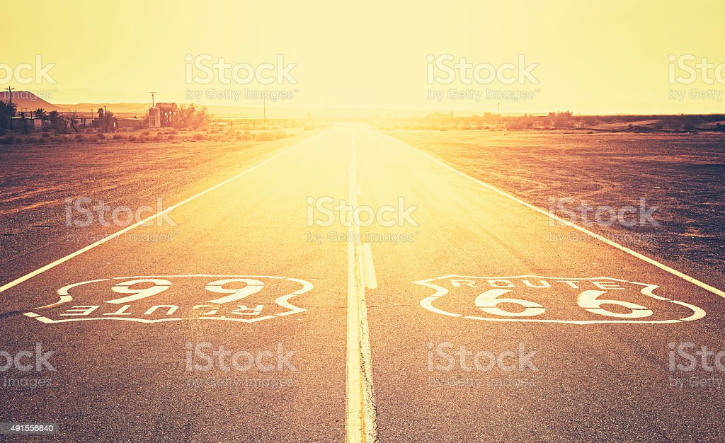 Retro old film style sunset over Route 66, California, USA. stock photo