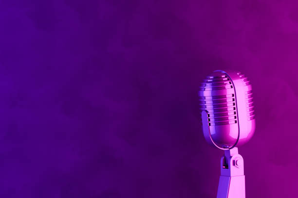 Retro Old Microphone, Vintage Style with Neon Lights stock photo
