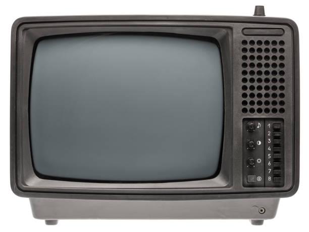 Retro old portable TV set isolated on white stock photo