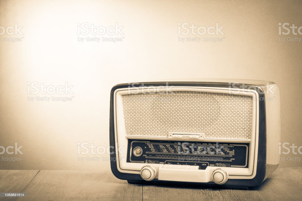 Retro Old Radio On Table Vintage Style Sepia Photo Stock Photo