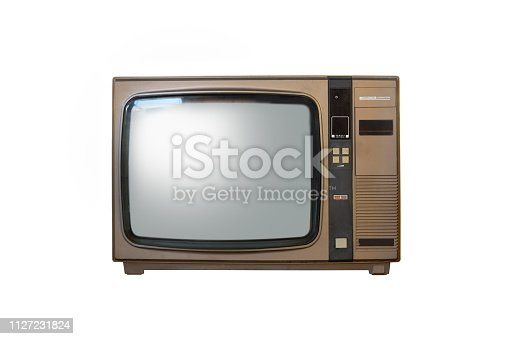 istock Retro old television from 80s isolated on white background. 1127231824