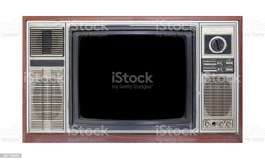 Retro old television isolated on white background. stock photo