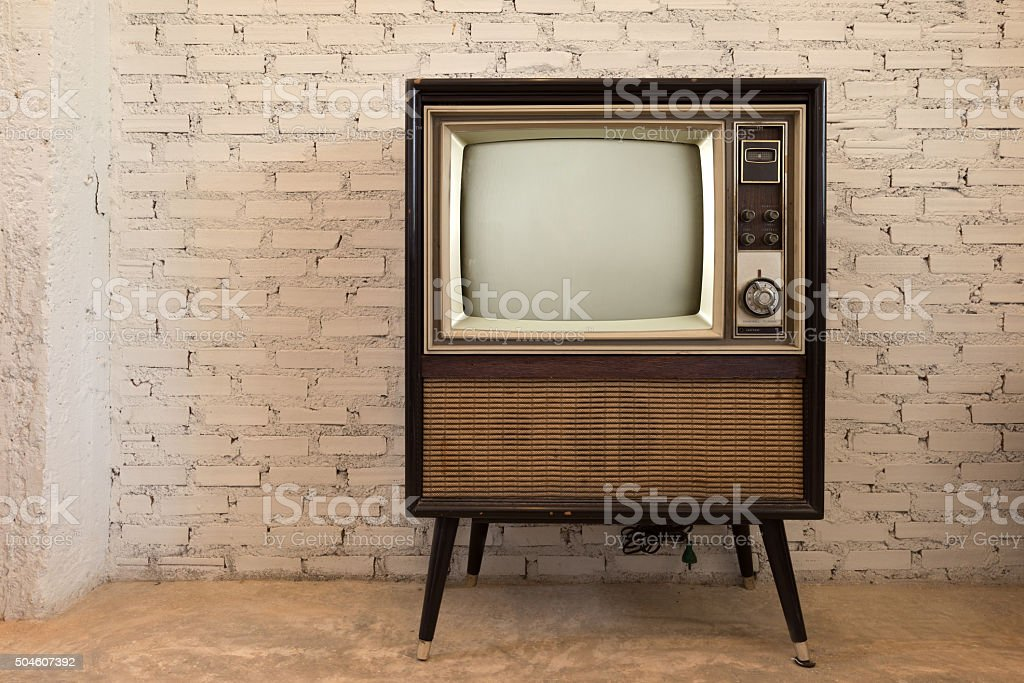 Retro old television stock photo