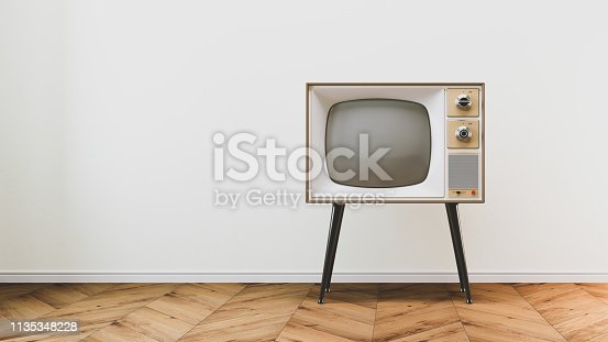 istock Retro old tv set on background 1135348228