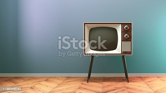 istock Retro old tv set on background 1135348242