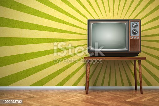 Retro old TV set on the vintage background. 3d illustration