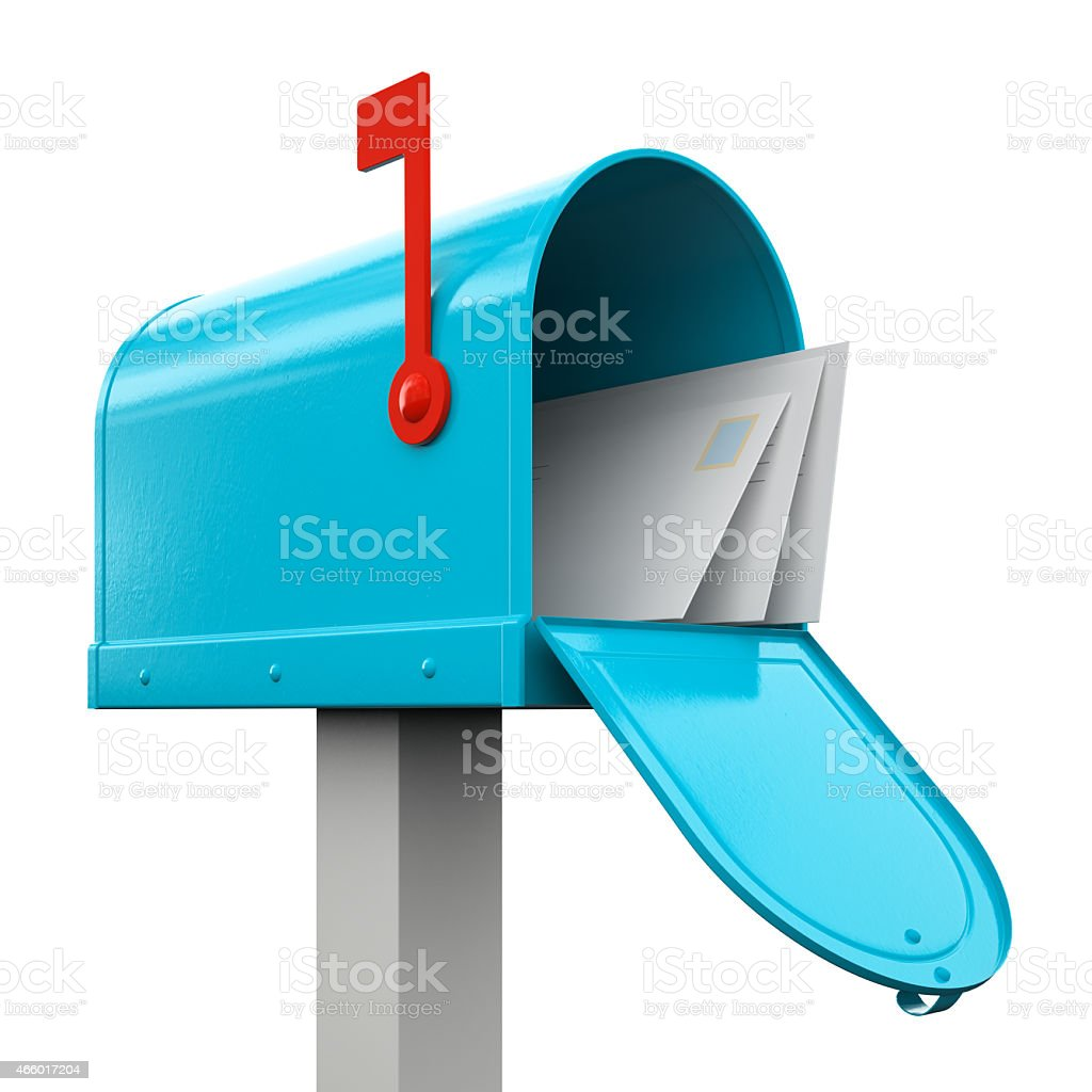 Retro  open blue mailbox isolated on white background stock photo