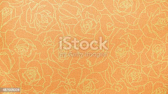 istock Retro Orange Gold Rose Lace Floral Seamless Pattern Fabric Background 487005028