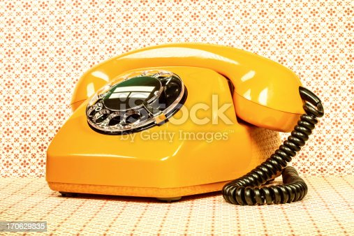 Retro orange telephone