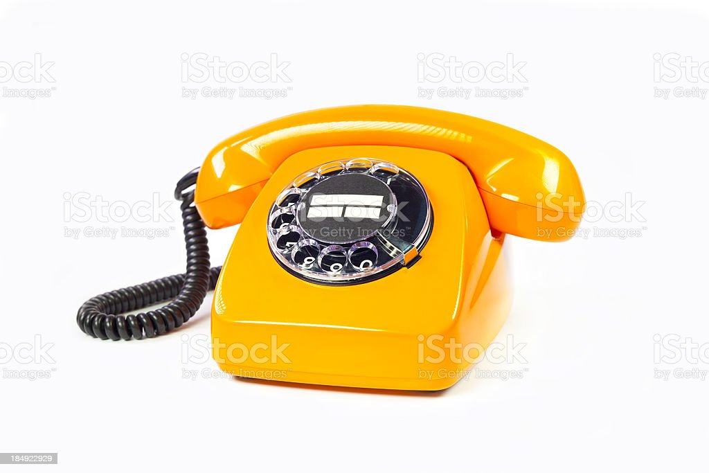 Retro orange telephone royalty-free stock photo