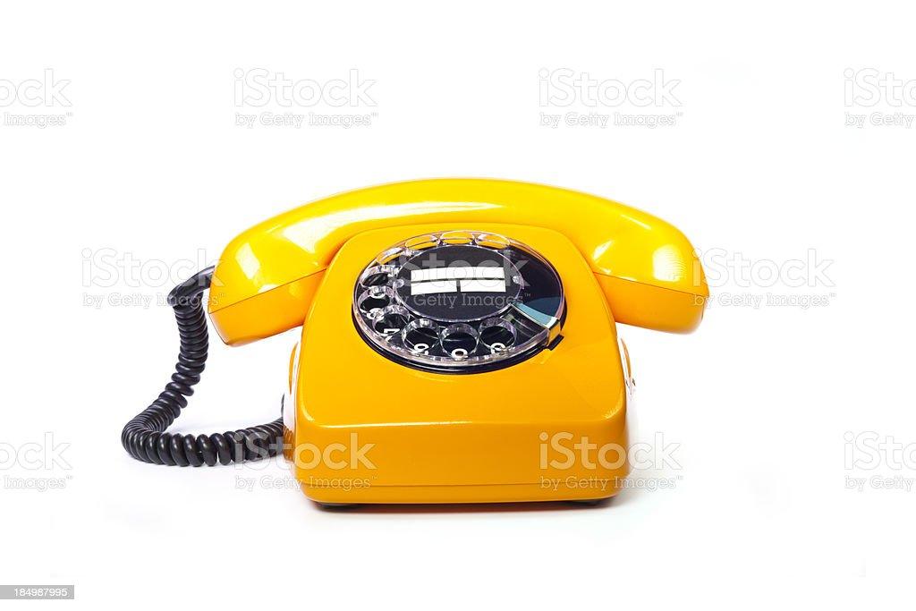 Retro orange telephone stock photo