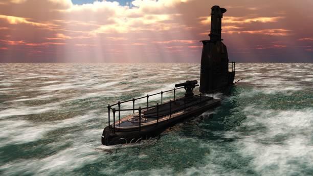 3D retro ornate submarine stock photo