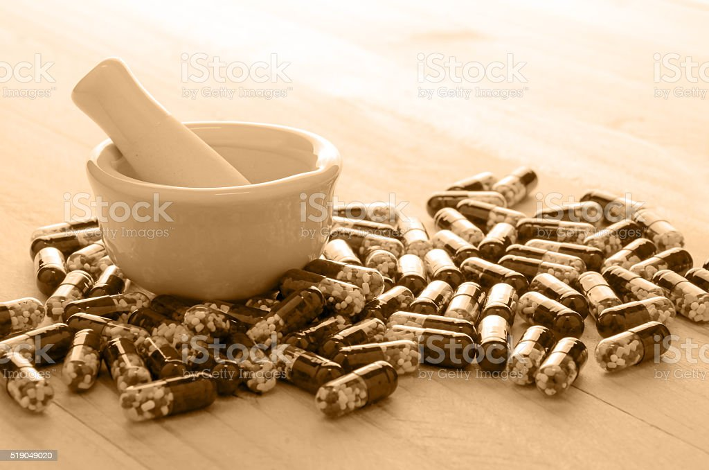 Retro Pharmaceutical Background with Light Source form Back. stock photo