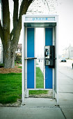 Rare and intact American vintage phone booth.