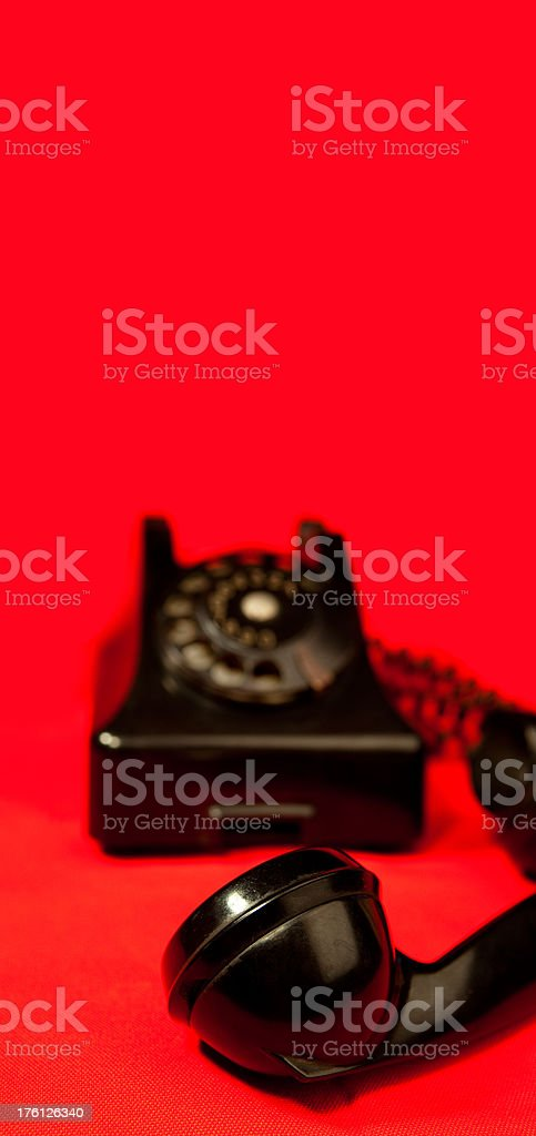 Retro phone on red royalty-free stock photo
