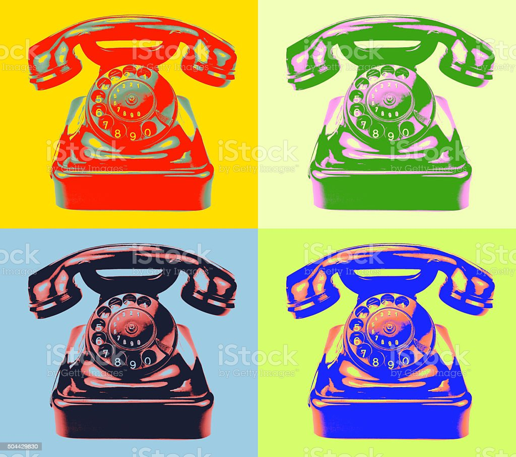 Retro phone. pop-art style image stock photo