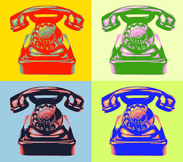 ретро телефон в стиле поп-арт изображение - поп арт стоковые фото и изображения