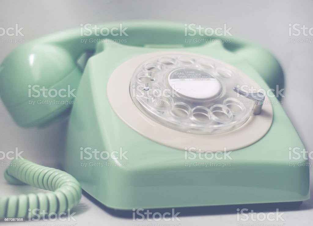Retro Phone With Emergency Services Numbers stock photo