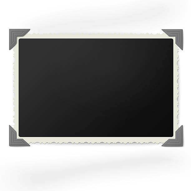 retro photo frame in vintage photo corners isolated - photo corner stock photos and pictures