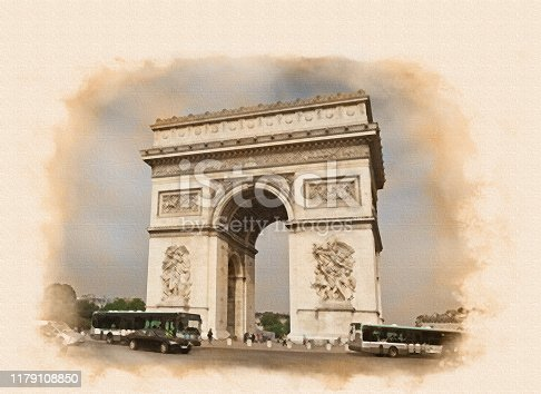 image of the Arc de Triomphe (Triumphal Arch)  at the center of Place Charles de Gaulle in Chaps Elysees, Paris, France processed in a graphic editor as an retro photo or old postcard