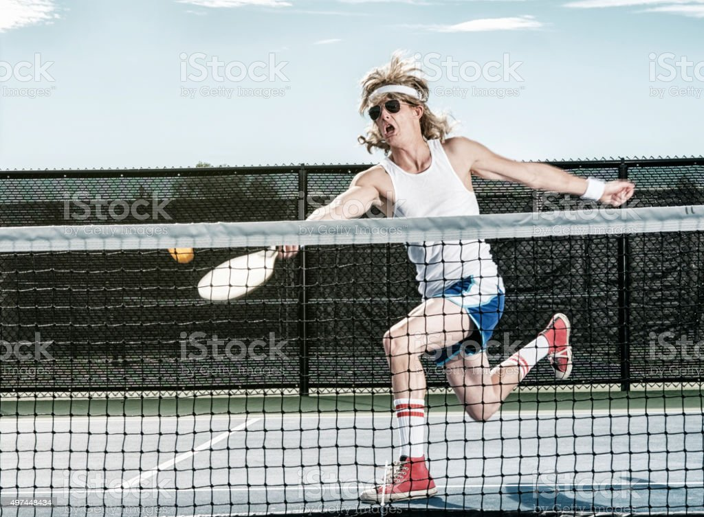 Retro Pickleball Player stock photo